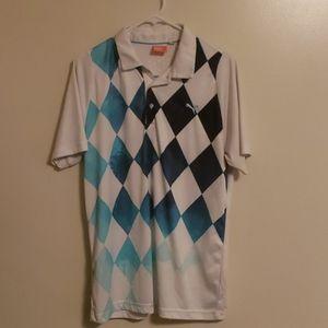 *Puma* Golf Polo~Dry cell~white/blue ocean Sz M